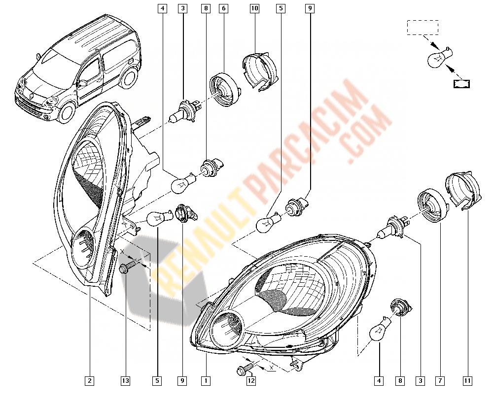 Kangoo 2 Far Arka Kapağı 8200589434